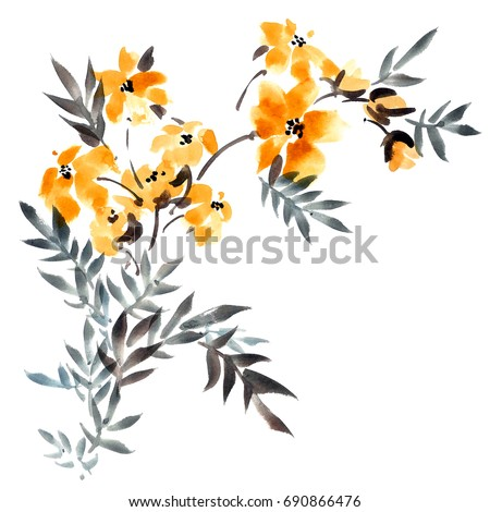 Watercolor and ink illustration of yellow flowers with leaves bouquet. Sumi-e, u-sin painting.