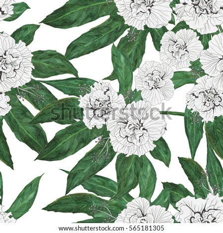 Watercolor and ink  painting seamless pattern with Big Leaf Japanese Aralia Fatsia japonia and white hibiscus flowers  isolated on a white background Zdjęcia stock ©