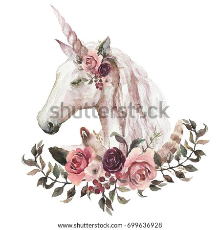 Watercolor animal floral boho illustration - unicorn with flower and feather elements for wedding, anniversary, birthday, etc. invitations.