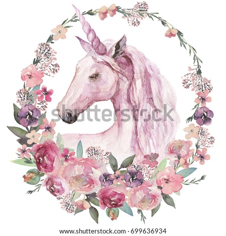 Watercolor animal floral boho illustration - unicorn with pastel flower wreath for wedding, anniversary, birthday, etc. invitations.