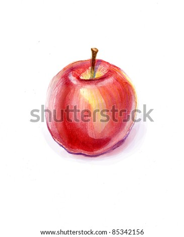 Watercolor apple.