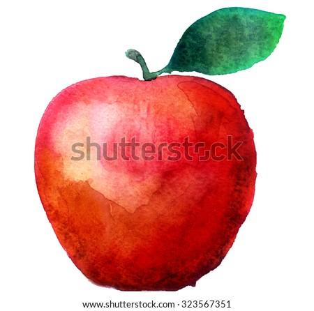 watercolor apple on a white background