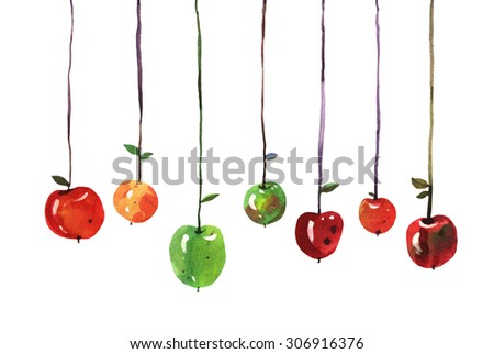 Stock Photo watercolor apples isolated on white background, hand painted illustration