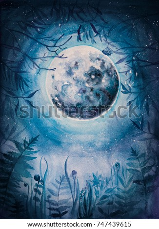 Stock Photo Watercolor/aquarelle illustration. The Moon in a winter wood