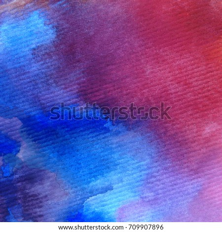 watercolor art abstract background  red pink  blue  wet wash blurred handmade beautiful  vibrant colorful sky clouds sunshine fantasy sunset    - Shutterstock ID 709907896