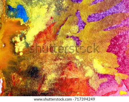 watercolor art abstract background  white yellow  green blue orange brown light wet wash blurred handmade beautiful  vibrant colorful  mix fantasy  autumn  defoliation