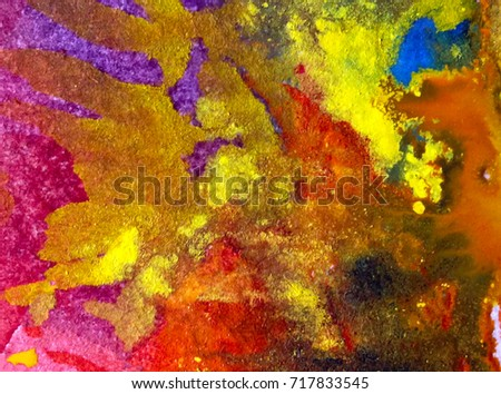 watercolor art abstract background   yellow  blue orange brown light wet wash blurred handmade beautiful  vibrant colorful  mix fantasy  autumn  defoliation