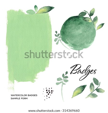Watercolor art hand paint green badge isolated on white background. Watercolor stains.