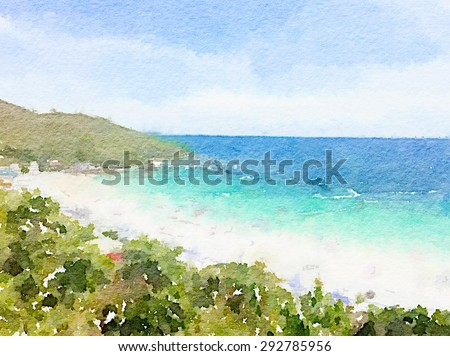 Stock Photo Watercolor art painted, beautiful sea beach, summer background