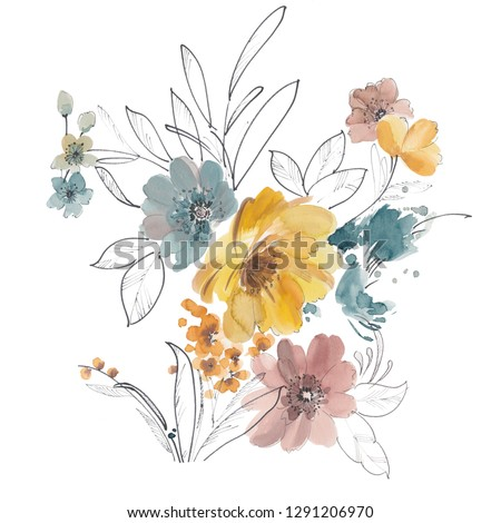 Watercolor art yellow floral pencil with large floral head