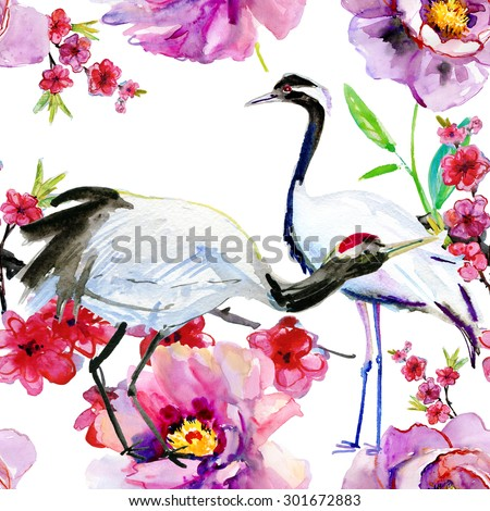 Watercolor asian crane bird seamless pattern. Hand painted flowers and  bamboo illustration on white background