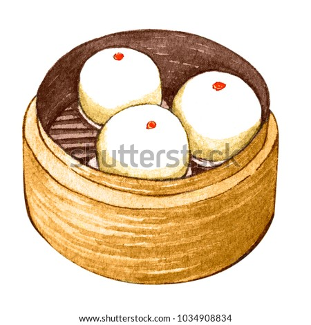 Watercolor asian food dim sum. Delicious lotus seed paste bun in bamboo steamer on white background. Isolated box with tasty chinese sweet bun in it.