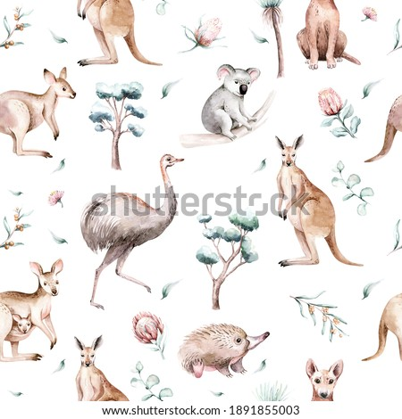 Watercolor australian cartoon kangaroo seamless pattern. Australian kangaroos set kids illustration. Nursery wallpaper Foto d'archivio ©