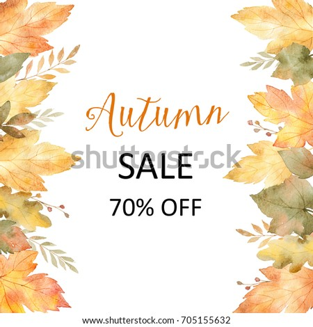 watercolor autumn banner sales 70 isolated on white background illustration for of discount - Discount Greeting Cards