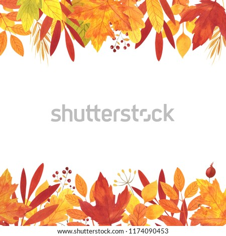 Watercolor autumn card template design of leaves and branches isolated on white background. Autumn illustration for greeting cards, wedding invitations, quote and decorations.