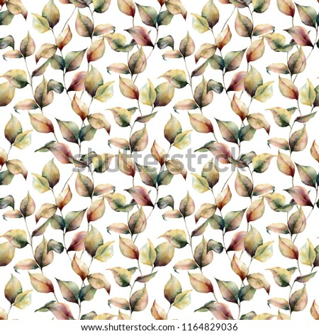 Watercolor autumn seamless big pattern. Hand painted leaves and branch isolated on white background. Botanical illustration for design, background and fabric. Fall print