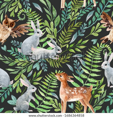 Watercolor baby deer, owl, little rabbits on wild herbs and flowers background. Woodland seamless pattern with cute animals. Hand painted nature illustration for nursery design, fabrics, textile