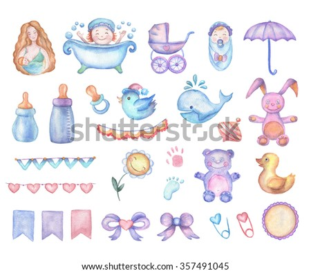 Watercolor Baby Shower Set Of Design Elements In High Resolution