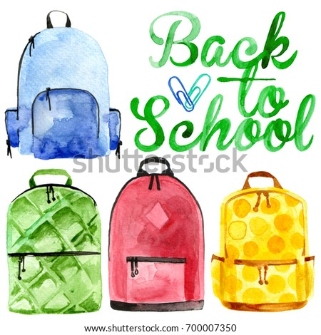 Watercolor back to school backpacks illustration for boys and girls in different colors isolated on white background