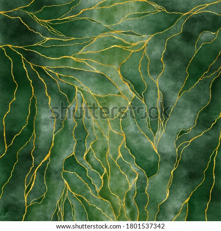 Watercolor background drawn by brush. Green paints spilled on paper. Golden shiny veins and cracked marble texture. Elegant luxury wallpaper for design, print, invitations.
