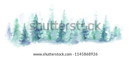 watercolor background drawn landscape of foggy forest, winter hill. Wild nature, misty, taiga.