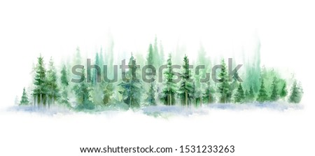 watercolor background drawn landscape of foggy forest, winter hill. Wild nature, taiga. stock photo