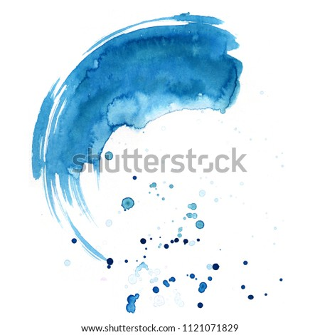 Watercolor background for textures. Abstract watercolor background. Ink stains on paper. The color of the sea, blue, turquoise, color of the sky