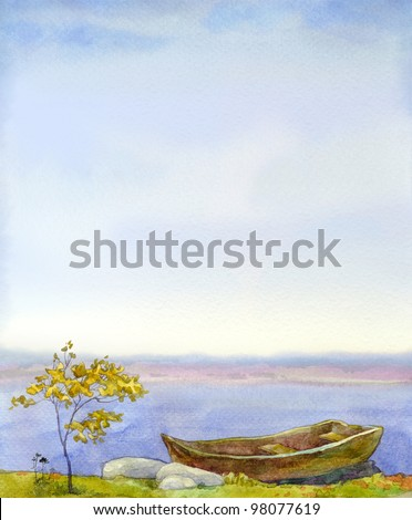 Watercolor background for the text with a frame of the autumn landscape. An old boat near the young tree on the shore of a quiet lake