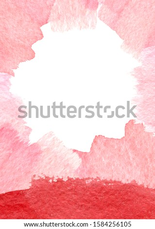 Watercolor background, frame - splashes and splotches. Red, pink and gold. Perfect for Valentine's day and romantic, passion, wedding decoration, invitation.