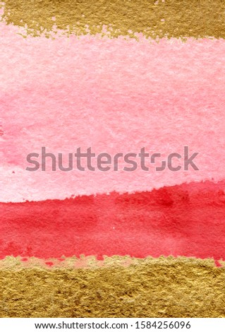 Watercolor background - splashes and splotches. Red, pink and gold. Perfect for Valentine's day and romantic, passion, wedding decoration, invitation.