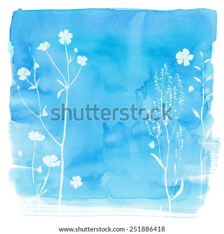 Watercolor background with beautiful color painted flowers and herbs. Colored flowers and herbs, hand-painted line. Blue background with flowers.