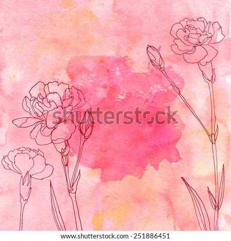 Watercolor background with beautiful color painted flowers and herbs. Colored flowers and herbs, hand-painted line. Carnation