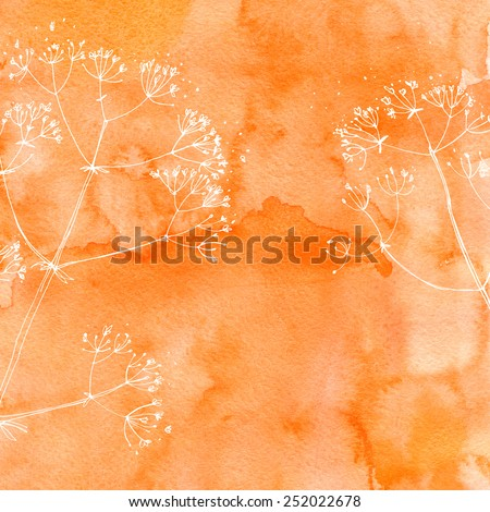 Watercolor background with beautiful color painted flowers and herbs. Colored flowers and herbs, hand-painted line. Dill on a colored background.