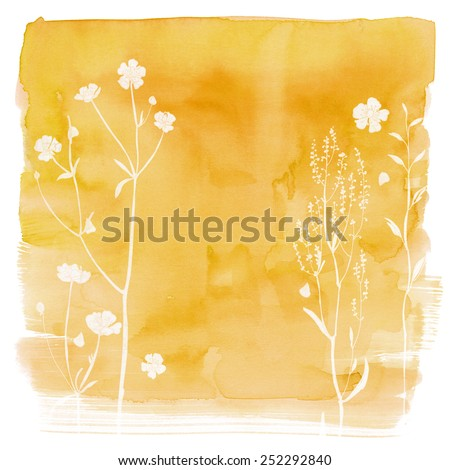 Watercolor background with beautiful color painted flowers and herbs. Colored flowers and herbs, hand-painted line. Yellow background with flowers.