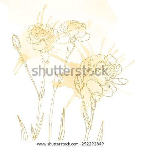 Watercolor background with beautiful color painted flowers and herbs. Colored flowers and herbs, hand-painted line. White background with flowers. Carnation