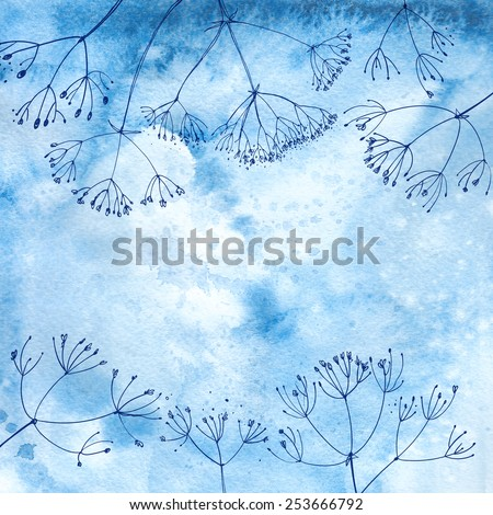 Watercolor background with beautiful color painted flowers and herbs. Colored flowers and herbs, hand-painted line. Blue background with flowers. Dill on a colored background.