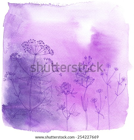 Watercolor background with beautiful color painted flowers and herbs. Colored flowers and herbs, hand-painted line. Pink background with flowers. Dill on a colored background.