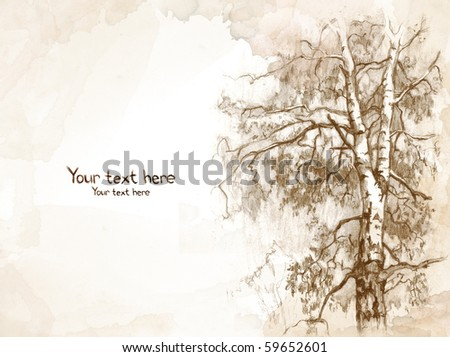 Watercolor background with sketch of tree
