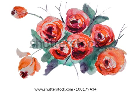 Watercolor background with stylized rose flowers