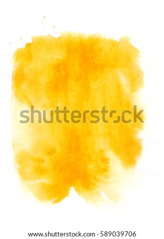 Watercolor background. Yellow watercolour stain on white background. Abstract hand illustration - design element for banner, print, template, cover, card, web, decoration - Shutterstock ID 589039706