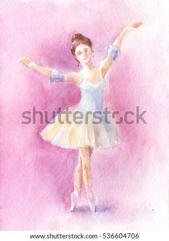 watercolor ballet dancer, hand drawn painting of ballerina