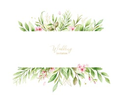 Watercolor banner of pink flowers and almond leaves.