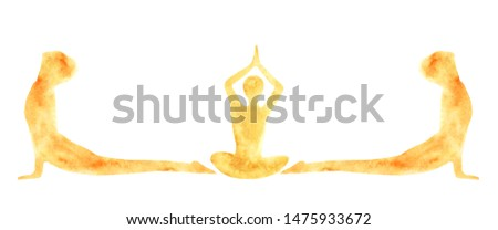 watercolor banner of silhouettes of people practicing yoga asanas poses Suri Namaskar. lotus pose and cobra pose. Meditation, lotus position