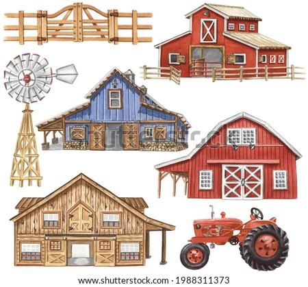 Watercolor Barns Clipart. Farm Style. Red Barn House, Horse, Tractor, Windmill, Wood Gate Illustrations. Wedding Invitation DIY. Сток-фото ©