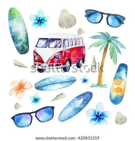 Watercolor beach, adventure, bike, motorollier, tree. Watercolour  fun holiday activity, tropical travel illustration. Island summer , retro car, surfboard.