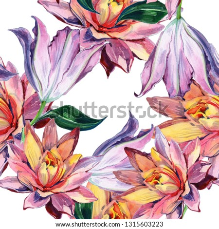 Watercolor beautiful, exotic flower. Flower Lotus Seamless floral background - illustration.