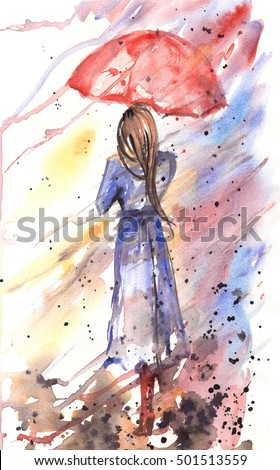 Watercolor beautiful girl with umbrella. Autumn concept with rain and wind.