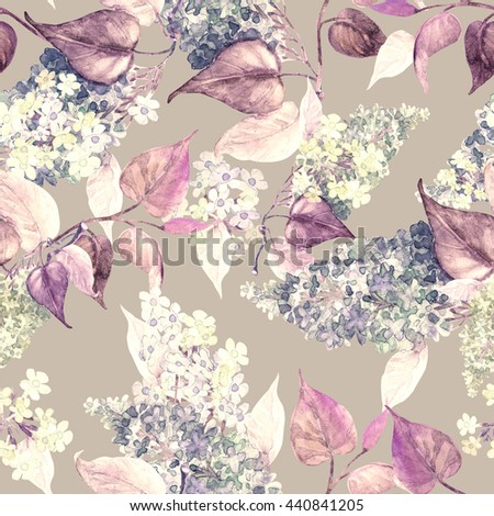 Watercolor beautiful Lilac flowers seamless pattern.