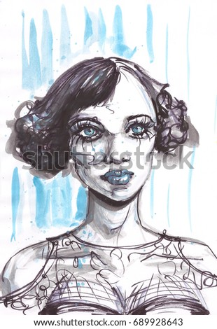 Watercolor beautiful woman portrait with short stylish hair.