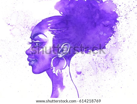 Watercolor beauty african woman. Hand drawn abstract portrait with splash. Painting fashion illustration on white background